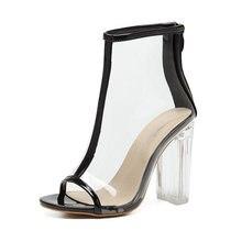 Mulheres Bombas de PVC Transparente Legal Moda Botas de Zíper No Tornozelo Saltos De Cristal Do Dedo Do Pé Aberto Sandálias de Salto Alto Mulher Sapatos Das Senhoras Preto