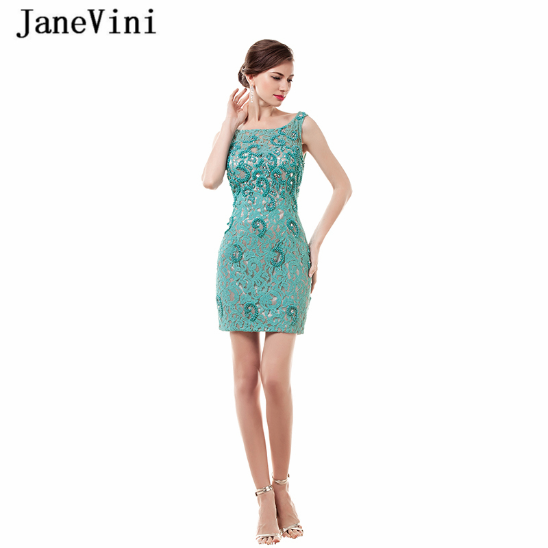JaneVini Vintage gaine courte robes de Cocktail 2019 encolure dégagée perlée Sexy dos nu soirée dentelle Mini robe de Cocktail fête