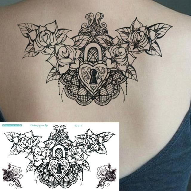 1sheet new chest flash tattoo large black flower love lock skull shoulder arm sternum tattoos. Black Bedroom Furniture Sets. Home Design Ideas