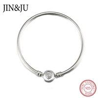 Jin Ju Women Jewelry DIY Jewelry 100 925 Sterling Silver Chain Heart Bangle Bracelet Luxury Jewelry