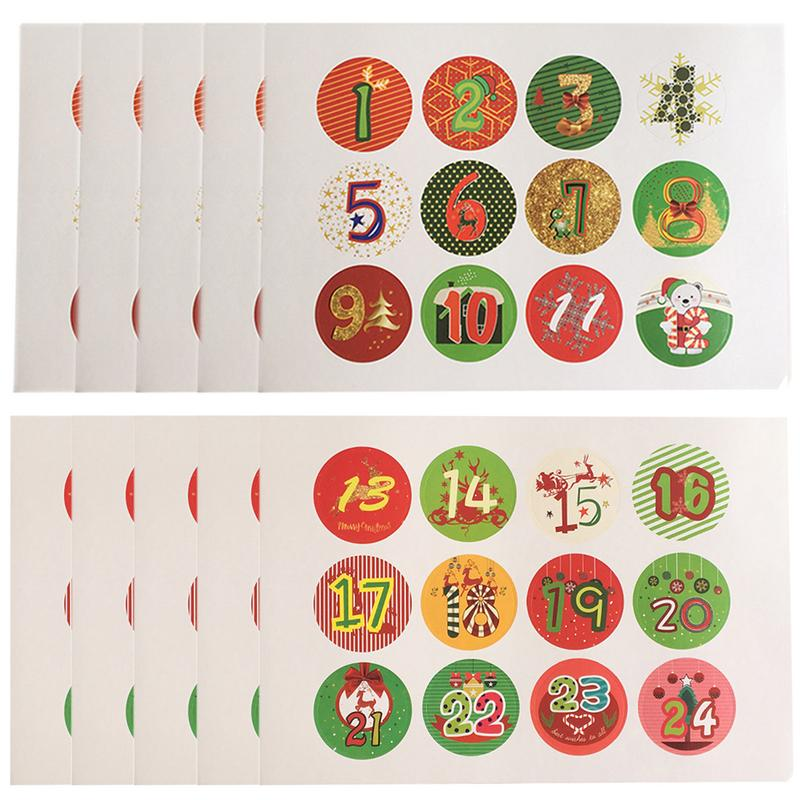 120pcs Christmas Advent Christmas Number Sticker Multifunction DIY Gifts Posted Children Sticker Stationary Stickers