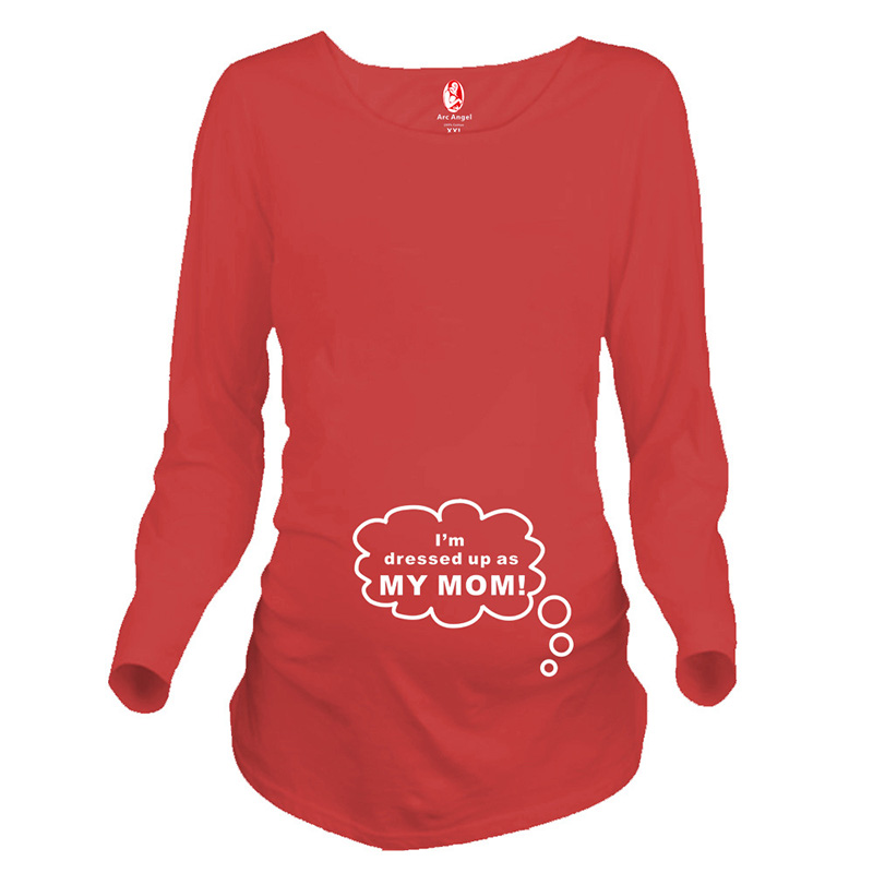 f5a8d49dbf80b Plus size funny maternity tops long sleeve pregnancy shirts print letters  maternity clothes for pregnant women pregnant tees