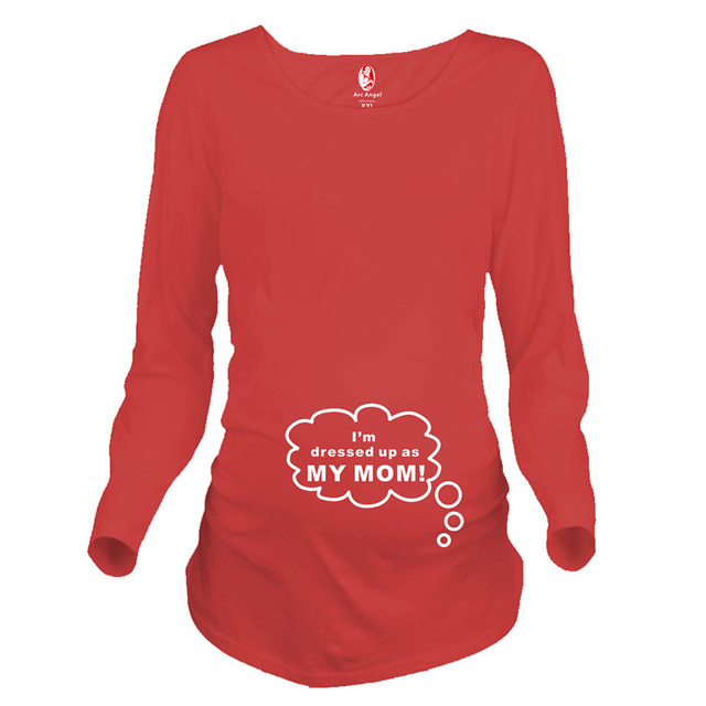 c0c5ca4a Plus size funny maternity tops long sleeve pregnancy shirts print letters maternity  clothes for pregnant women pregnant tees