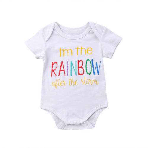2018 Summer Newborn Kids Baby Boy Girl Rainbow Bodysuits Short Sleeve White Baby Clothes Outfit 0-18M