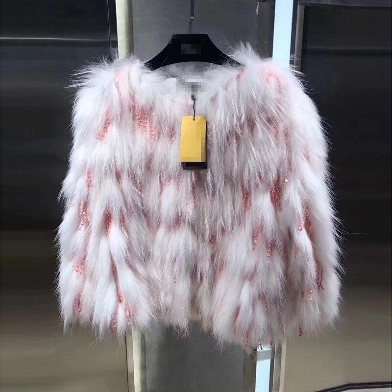 Raton Manteaux Vestes Survêtement rose Blanc Perles pu En Femmes Pardessus Yukou Manteau Hiver Doux Fourrure 2018 Réel gris Laveur Ciel De Femelle Chaud Peluche 4 Couleurs qwzFU7v