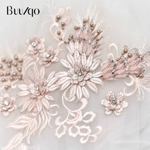 buulqo 39*26cm embroidery lace flower high quality 3D nail beads trim for wedding dress fashion accessories DIY