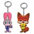 2 Pcs Zootopia figuras keychain anel brinquedos set 2016 Novos Dos Desenhos Animados animais 1 a Judy Hopps + 1 Nick Fox pingente de Coelho acessórios