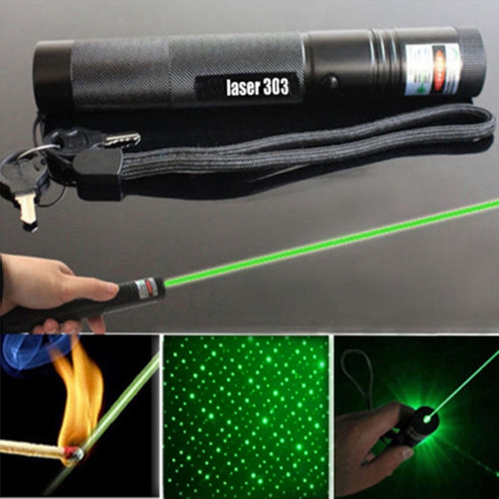 HOT 303 Green Laser Flashlight Pointer Pen Adjustable Focus 532 nm Lazer Visible Beam Pen Powerful Pointer
