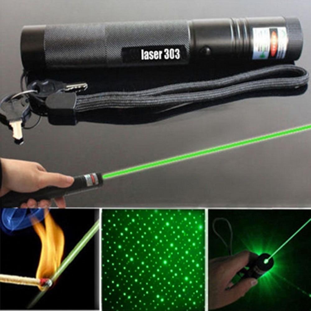 HOT 303 Green Laser Flashlight Pointer Pen Adjustable Focus 532 nm Lazer Visible Beam Pen Powerful Pointer