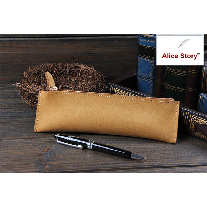 Alice Story Brand High Quality Handmade Genuine Leather Pencil Bag Cowhide School Pencil Cases 11 Colors Available simline vintage high quality handmade genuine leather cowhide men women children long pen pencil bag bags holder holders case