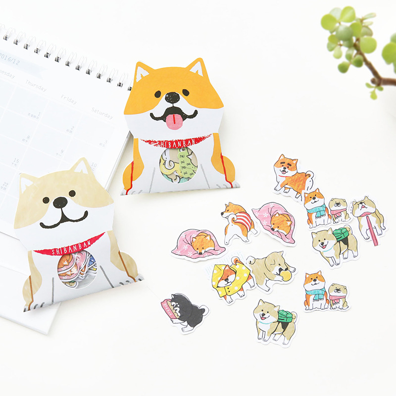 30pcs/pack Cute Dog Shiba Inu Akita Husky Label Stickers Decorative Stationery Stickers Scrapbooking DIY Diary Album Stick Label