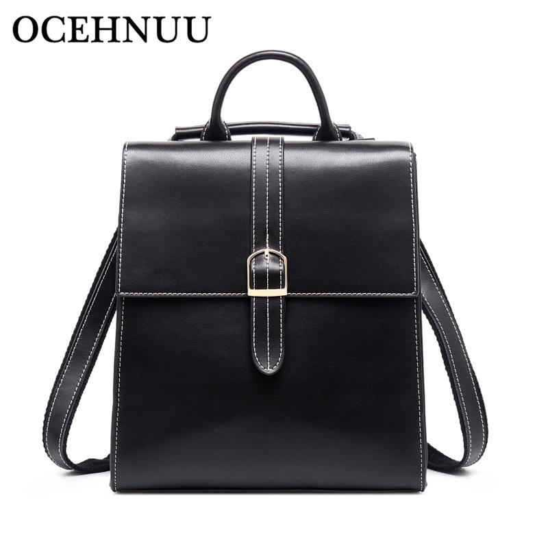 OCEHNUU Fashion Women s Backpack Bag Female Back Pack Genuine Leather Schoolbag Ladies Backpack Shoulder Travel
