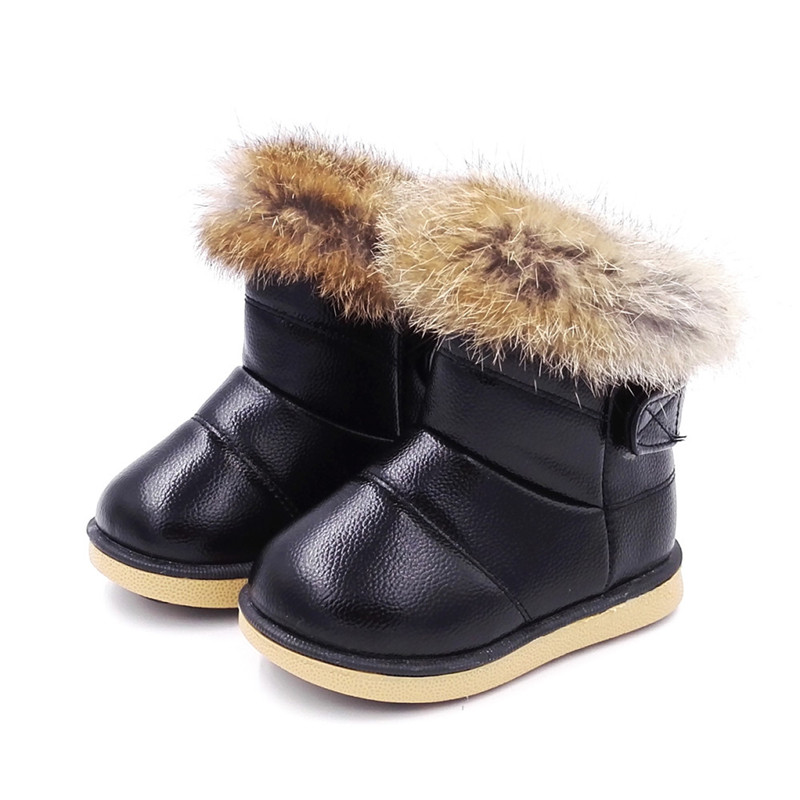Winter Warm Fashion Child Girls Snow Boots Shoes Soft Bottom Comfy Baby Girls Outdoor Snow Cotton Shoes Plush Ankle Boots Girl