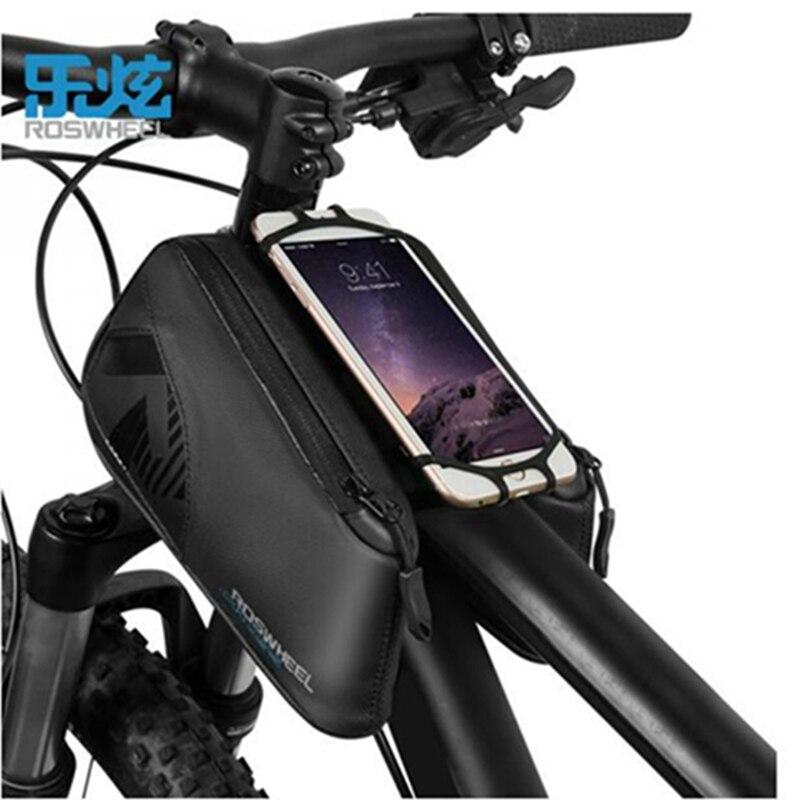 ROSWHEEL Résistant À L'eau Vélo Sac Noir Vélo Top Tube Sac 1680D Vélo Avant De Bicyclette Pannier Sac Pour 4-6.7 pouce