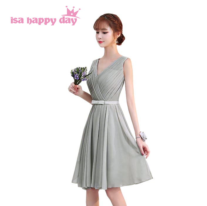 most popular light grey short v neck sleeveless chiffon a line bridesmaid dress bridesmaids formal bridemaid dresses H4128