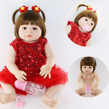 NPK Real 57CM Full Silicone Body Girl Reborn Doll Bebe Alive Bath Toys Lifelike Princess Toddler Fashion Doll Bebe dolls Menina