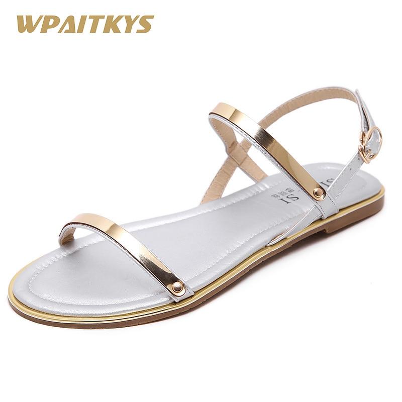 Sandale të Zeza me Stil të thjeshtë 2018 Dy ngjyra Ngjyrat sandale - Këpucë për femra