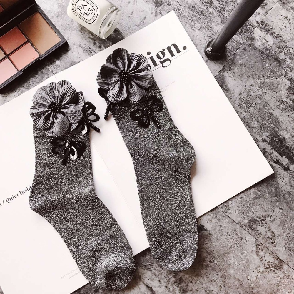 2020 sequined dragonfly beading floral socks women autumn and winter wholesale price