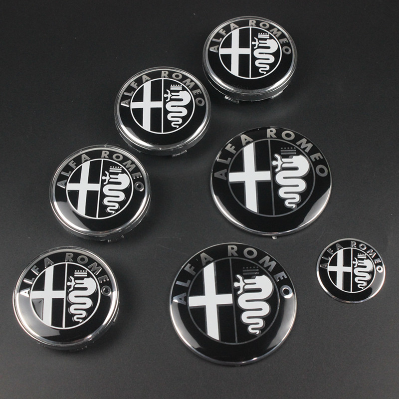 7pcs Alfa Romeo New Logo 74mm Hood Trunk  Steering Wheel Badge  60mm Wheel Center Cap Emblem Brera 159 SW New Spider Giulietta