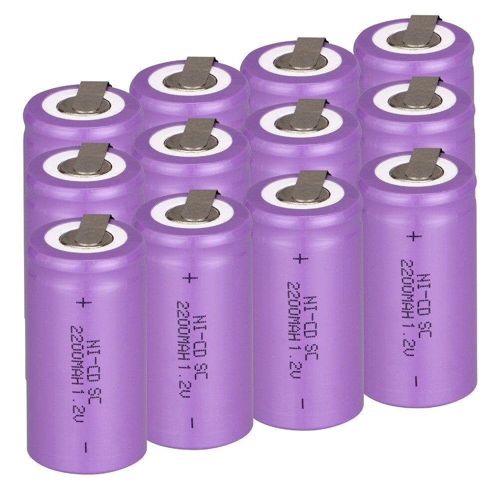 De alta calidad! 12 unids SC batería SUBC batería recargable 1.2 v 2200 mah banc