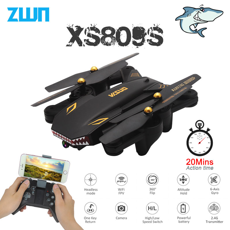 VISUO XS809S Foldable Selfie Drone with Wide Angle 2MP HD Camera WiFi FPV XS809HW Upgraded RC Quadcopter Helicopter Mini Dron haggard h dawn