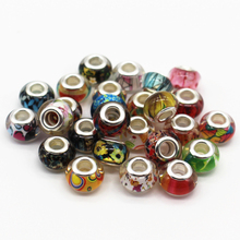 Mixed Color Silver Cord Big Hole Loose Beads Charms Fit Murano Pandora Jewelry
