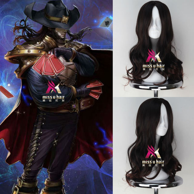New Game Wig League of Legends LOL the Card Master Twisted Fate Long Curly  Brown Color