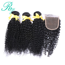 Mongolian afro Kinky Curly Hair Weave 3 Bundles With Lace Closure 100%  Human Hair Bundles With Closure 4pcs/lot Deals Weft Riya