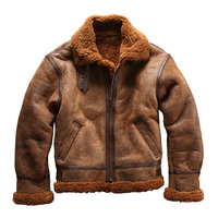 European Size High Quality Super Warm Genuine Sheep Leather Jacket Mens Big Size B3 Shearling Bomber