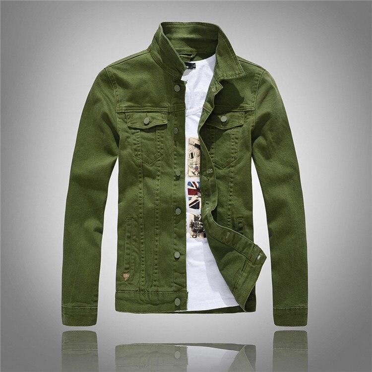 Green De Veste Top rose Qualité Jean Denim Longues Manches Mode Chaude Vintage Vert Automne rouge Blanc Hommes Armée Mince New Vente army Printemps blanc 2016 Noir À tUSgqZ0U