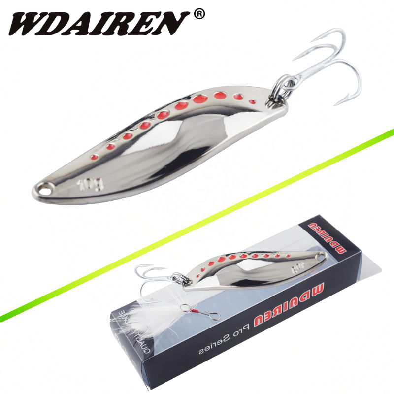 WDAIREN Metal Spinner Spoonner Fishing Lure Hard Baits Sequins Noise Paillette with Feather Treble Hook Tackle 10/15 / 20g WD-441