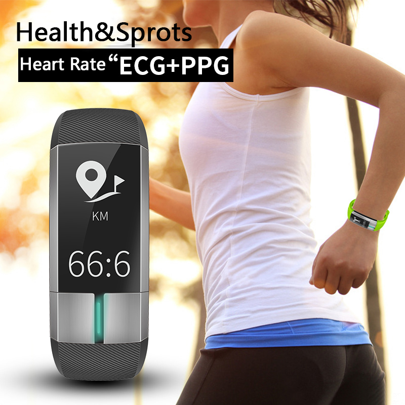 BLE4.0 IP67 Waterproof Sport Smart Band Blood Pressure Heart Rate Fitness Activity Tracker PPG ECG Medical Grade Health Bracelet 2016 new fashion lady women long purse luxury clutch wallet zip bag card holder high quality free shipping nov 30