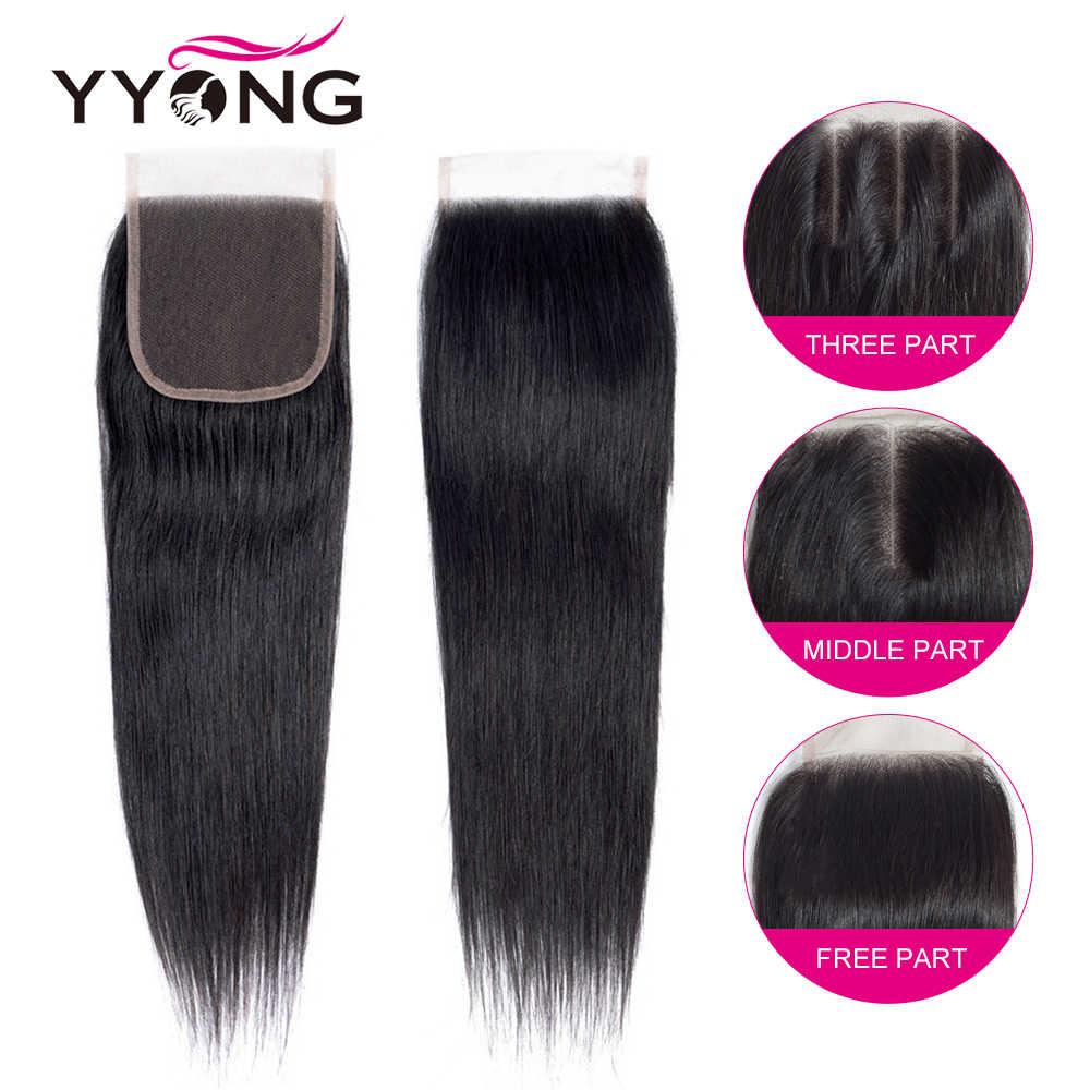 Yyong 4 Feixes de Cabelo Em Linha Reta Com Fechamento Brasileiro Do Cabelo Humano Weave Bundles Com 4X4 Cabelo Remy Encerramento do Laço extensões