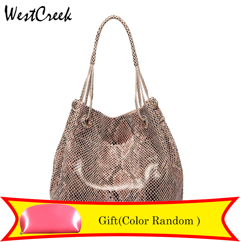 WESTCREEK 브랜드 여성 정품 가죽 토트 백 여성 패션 사문석 뱀 스킨 패턴 핸드백 디자이너 대형 숄더 백
