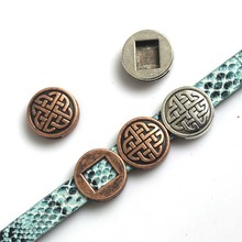 4a6b05f85ab150 10 pcs Bijoux De Mode Antique Argent Cuivre Chinois Noeud Curseur  Entretoises 13 2mm Ceinture En Cuir Bracelets   bracelets Fabr.