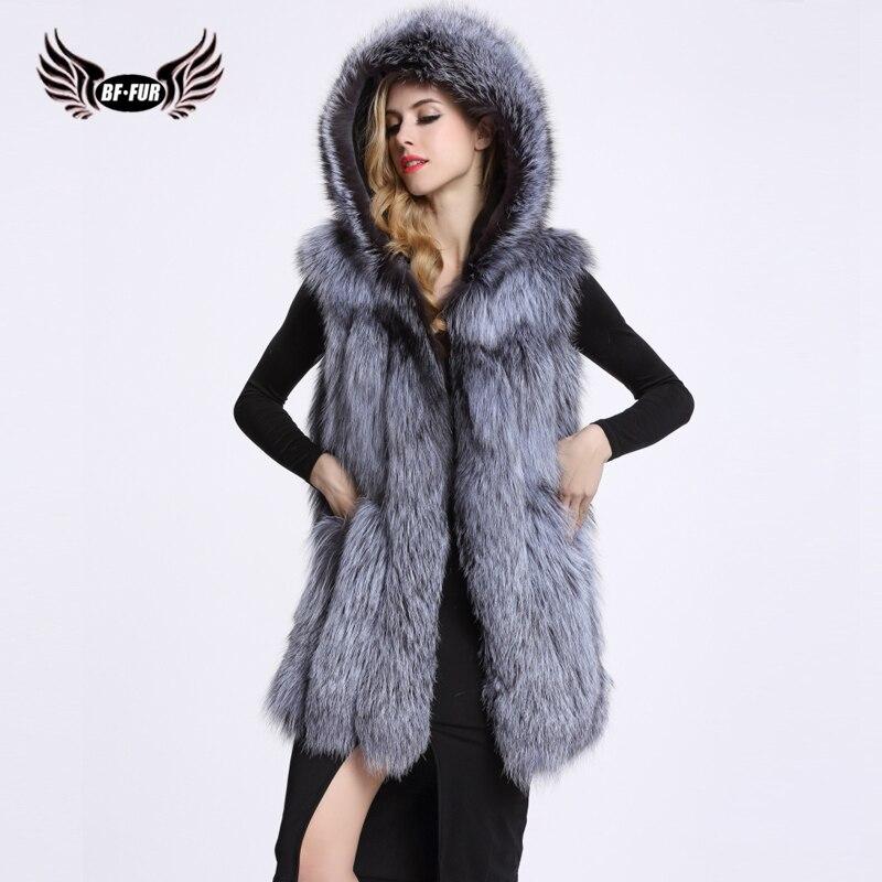 BF FUR Real Fur Hood Coat Fashion Women Nature Silver Fox Fur Vest Real Long Style Fox Waistcoat Cute Fox Fur Gilet BF-V0002 etosell women faux fox fur shaggy waistcoat long hair lapel vest coat camel l