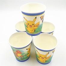 10pcs Pikachu Cup Cartoon Theme Party For Children Happy Birthday Kids Pokemon Party Decoration Theme Party Supplies Festival
