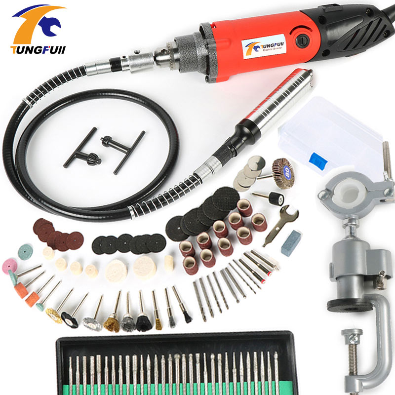 TUNGFULL Electric Drill Rotary Tool Accessories Rotary Grinder Tool Flex Shaft Drilling Machine Dremel Mini Drill Variable Speed 40pcs set ac100 240v mini hand drill electric grinder micro drill grinder with rotary tool accessories for polishing drilling