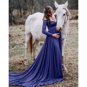 Image 3 - Đuôi Dài Đồ Váy Đầm Cho Buổi Chụp Hình Cho Mẹ Đạo Cụ Chụp Ảnh Đầm Maxi Cho Phụ Nữ Mang Thai Quần Áo Mang Thai Đầm