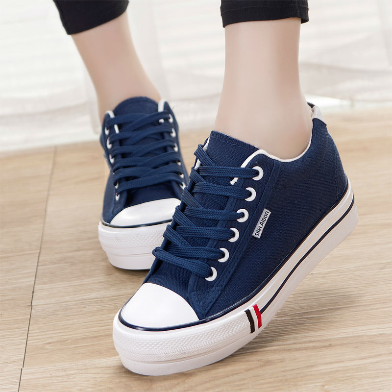 4017d948d1590 Hot Sale Canvas Shoes Women Fashion Sneakers Ladies Cloth Shoes Casual  Sport Inside Heighten Shoes Rubber Sole High Quality 2017-in Men s Casual  Shoes from ...