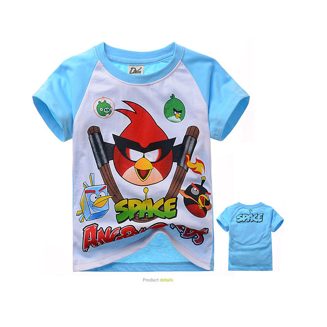 cartoon kids causal t-shirt lovely angry cute bird cotton Summer tops t-shirt for 2-10yrs children student shirt clothes hot