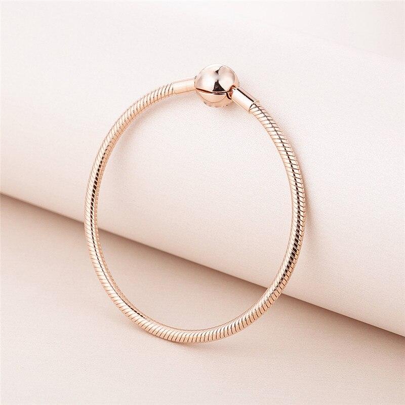 Signature fermoir rond chaîne serpent entier Rose doré argent Bracelets pour femme mode argent 925 Bracelets bricolage bijoux en perles