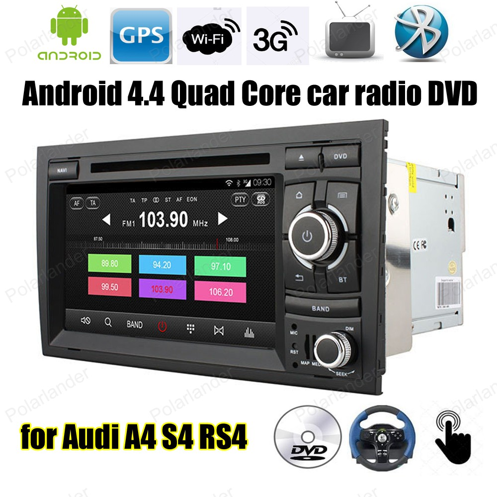 Android4.4 Quad Core Car DVD Support mirror link TPMS DAB + OBDII BT 3G WiFi GPS touch screen FM AM radio For Audi A4 S4 RS4