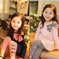 2017 Spring Autumn Sweet Baby Girls Clothes Set Bow Long Sleeve Shirts+Striped Leggings Outfits Suit For Kids Girls Clothing Set