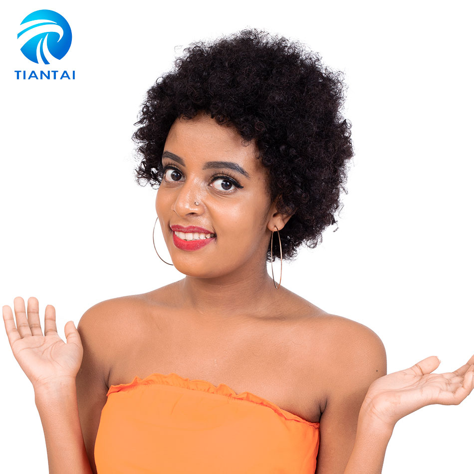 Tiantai Short Human Hair Wigs For Black Women Afro Kinky Curly Wigs Natural Color 100% Brazilian Remy Human Hair Machine Wigs