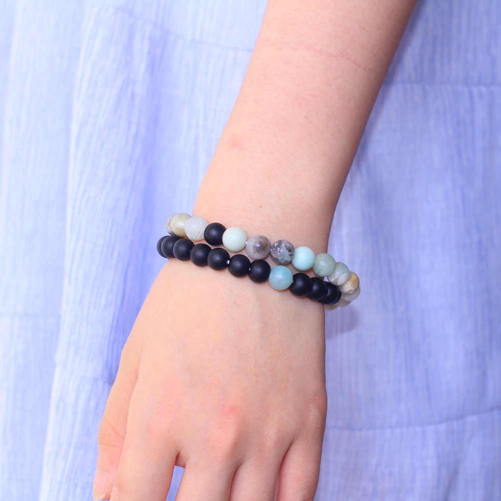 Ретро Простой Для мужчин Для женщин браслет из бисера натуральный Amazon Stone Песчаник Комбинации пара браслет напульсник Mujer Йога браслет