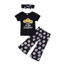 CHAMSGEND 3PCS Set Toddler Kids Baby Girl Sunflower Clothes Cotton T-shirt Tops+Flared Pant Bell-bottom Headband Outfits Set #(China)
