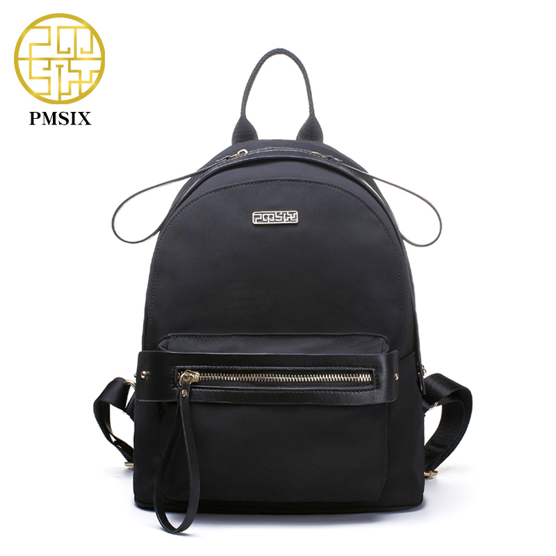 PMSIX 2017 Autumn Winter New Women Black Backpack Waterproof Fashion Travel Backpack High Quality School Bags