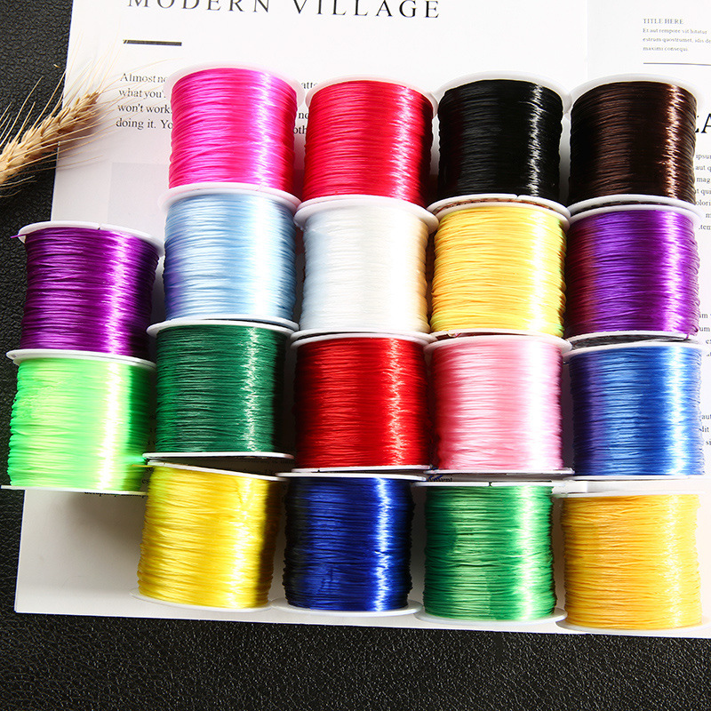 60 Meter/Roll 1mm Flat Crystal Elastic Cord Beading Stretch Thread/String/Rope for Necklace Bracelet Jewelry Making Supply