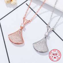 S925 Sterling Silver Skirt Necklace Women's Double-layer Fan-shaped Zircon Pendant Fashion Clavicle Chain flash shaped pendant chain necklace